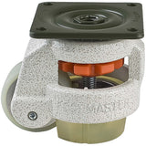 "Leveling Casters | FootMaster GD-60F-U | Top Plate Mount with 2"" Poly Wheel, Poly Pad & 550 Lb Capacity"