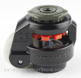"Leveling Caster | FootMaster GD-60S-BLK-1/2-UW | 1/2"" Threaded Stem Mount with 2"" Poly Wheel & 550 Lb Capacity"