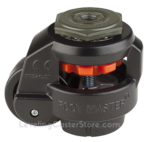"Leveling Caster | FootMaster GD-60S-BLK | 12mm Threaded Stem Mount with 2"" Wheel & 550 Lb Capacity"