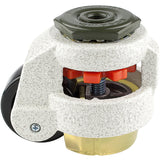 "Leveling Caster | FootMaster GD-60S-UP | 12mm Threaded Stem Mount with 2"" Wheel, Poly Pad & 550 Lb Capacity"