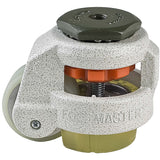 "Leveling Caster | FootMaster GD-60S-U | 12mm Threaded Stem Mount with 2"" Poly Wheel, Poly Pad & 550 Lb Capacity"