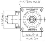 FootMaster GD-60F Drawing Top | Leveling Caster Store