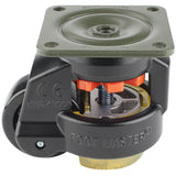 "Leveling Casters | FootMaster GD-80F-BLK-UP | Top Plate Mount with 2-1/2"" Wheel, Poly Pad, & 1,100 Lb Capacity"