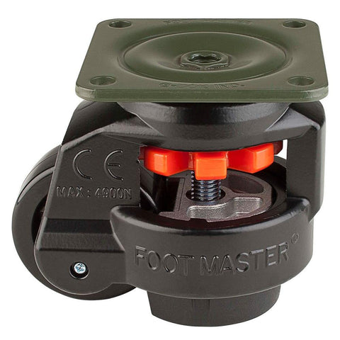 "Leveling Casters | FootMaster GD-80F-BLK | Top Plate Mount with 2-1/2"" Wheel & 1,100 Lb Capacity"