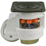 "Leveling Casters | FootMaster GD-80FU | Top Plate Mount with 2-1/2"" Poly Wheel, Poly Pad, & 1,100 Lb Capacity"