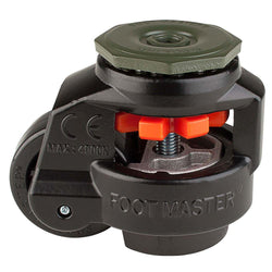 "Leveling Casters | FootMaster GD-80S-BLK | 12mm Stem Mount with 2-1/2"" Wheel & 1,100 Lb Capacity"