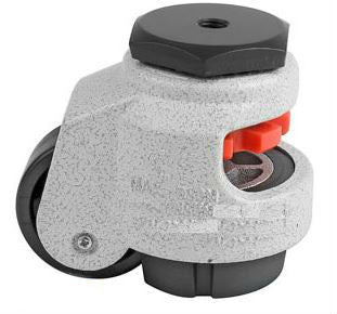 "Leveling Caster | FootMaster GDN-40S | 8mm Threaded Stem Mount with 1-5/8"" Wheel & 110 Lb Capacity"