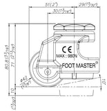 Leveling Caster | FootMaster GDN-40S-3/8 Drawing Side