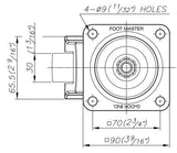 FootMaster GDN-80F Drawing Top View | Leveling Caster Store