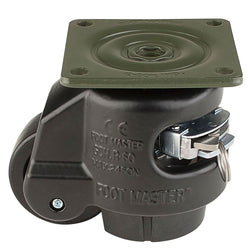 "Leveling Casters | FootMaster GDR-60F-BLK | Ratchet Adjustment Top Plate Mount Caster with 2"" Wheel & 550 Lb Capacity"