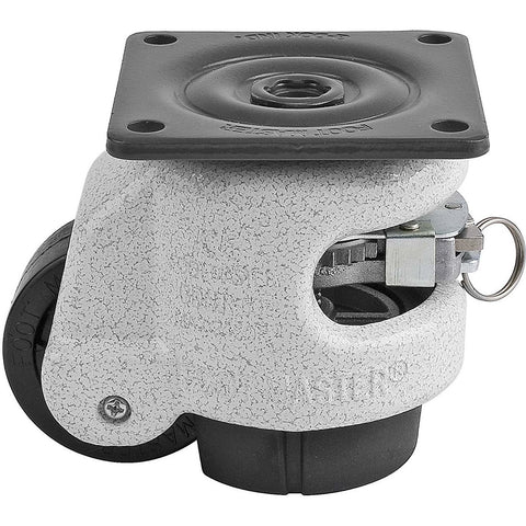 "Leveling Casters | FootMaster GDR-60F | Ratchet Adjustment Top Plate Mount Caster with 2"" Wheel & 550 Lb Capacity"