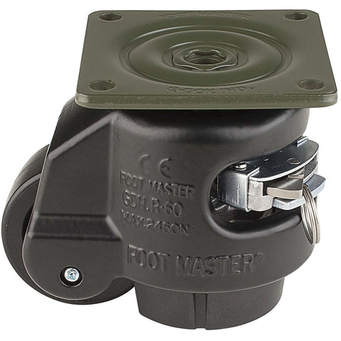 "Leveling Casters | FootMaster GDR-80F-BLK | Ratchet Adjustment Top Plate Mount with 2-1/2"" Wheel & 1,100 Lb Capacity"