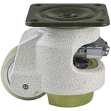 "Leveling Casters | FootMaster GDR-80F-UW | Ratchet Adjustment Top Plate Mount with 2-1/2"" Poly Wheel & 1,100 Lb Capacity"