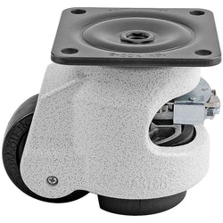 "Leveling Casters | FootMaster GDR-80F | Ratchet Adjustment Top Plate Mount with 2-1/2"" Wheel & 1,100 Lb Capacity"