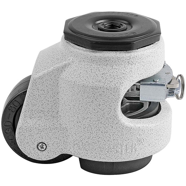 "Leveling Casters | FootMaster GDR-80S-1/2 | Ratchet Adjustment 1/2"" Stem Mount with 2-1/2"" Wheel & 1,100 Lb Capacity"