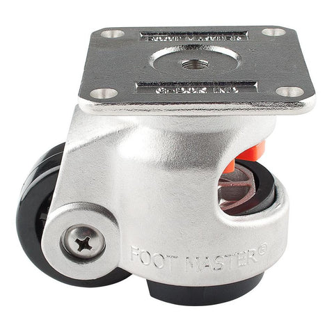 "Stainless Steel Leveling Casters | FootMaster SGDN-80F | Top Plate Mount with 2-1/2"" Wheel & 1,100 Lb Capacity"