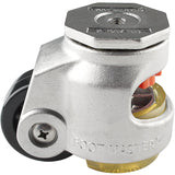 "Stainless Steel Leveling Casters | FootMaster SGDN-80S-UP| 12mm Stem Mount with 2-1/2"" Wheel, Polyurethane Pad & 1,100 Lb Capacity"