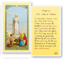 Our Lady of Fatima Holy Card Laminate