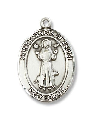 St. Francis of Assisi Oval Pewter Medal Necklace with Holy Card
