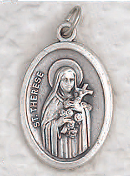 St Therese of Lisieux - 1 inch Pray for Us Medal Oxidized