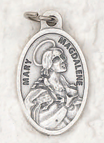 St. Mary Magdalene - 1 inch Pray for Us Medal Oxidized