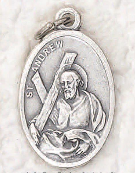 Saint Andrew - 1 inch Pray for Us Oxidized Medal