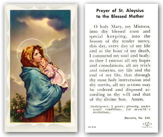 Prayer of St. Aloysius to the Blessed Mother Laminate Holy Card