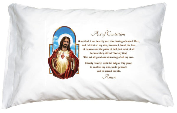 PRAYER PILLOWCASE  SACRED HEART OF JESUS: ACT OF CONTRITION