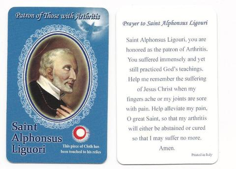 St. Alphonsus Relic Holy Card