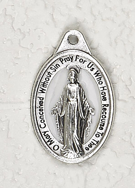 Miraculous Medal - 3/4 inch Double Sided White Enamel Medal Oxidized