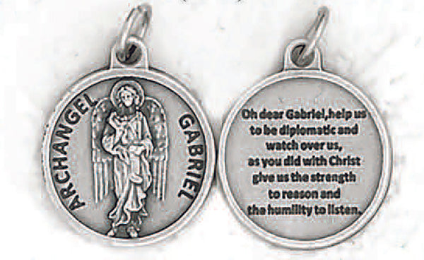 Archangel Gabriel-3/4 Inch Round Double Sided Oxidized Medal
