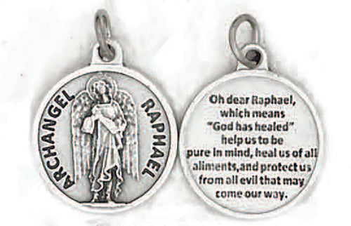 Archangel Raphael Medal with Prayer on back.  Oxidized