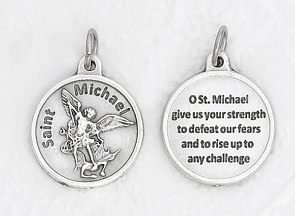 St. Michael - 3/4 inch Double Sided Round Medal Oxidized