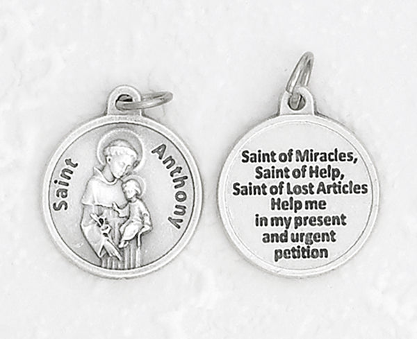 Saint Anthony - 3/4 inch Double Sided Round Medal Oxidized