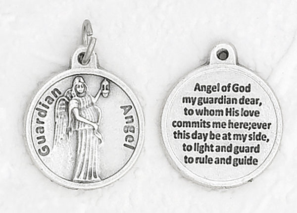 Guardian Angel - 3/4 inch Double Sided Round Medal Oxidized