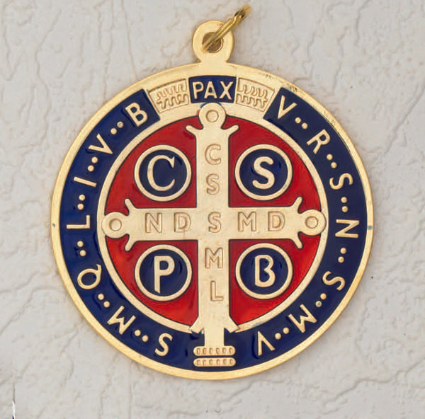 Saint Benedict Large Medal - Gold Tone - Dark Blue Enamel