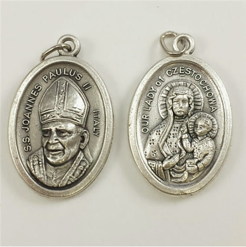 Our Lady of Czestochowa with Pope John Paul II-1 inch Medal Oxidized