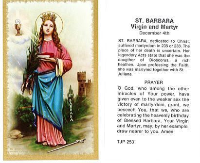 St. Barbara Laminate Holy Card