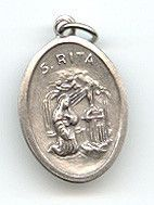 St Rita - 1 inch Medal Oxidized with Third Class Relic