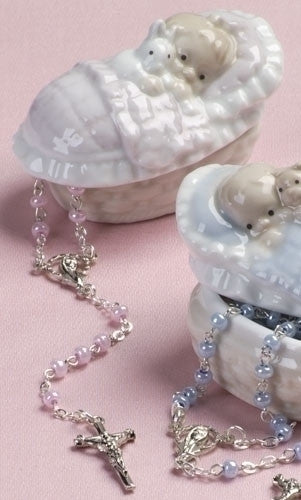 "Girl Porcelain Box with Pink Rosary 1.75""H"