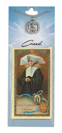St. Catherine Laboure Prayer Card with Pewter Medal
