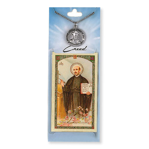 St. Ignatius of Loyola Pewter Medal Necklace with Holy Card