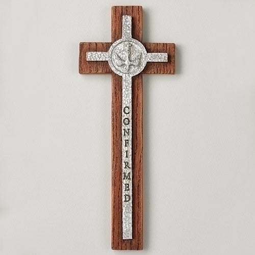 "8.5""H Confirmation Wall Cross with Silver Dove"