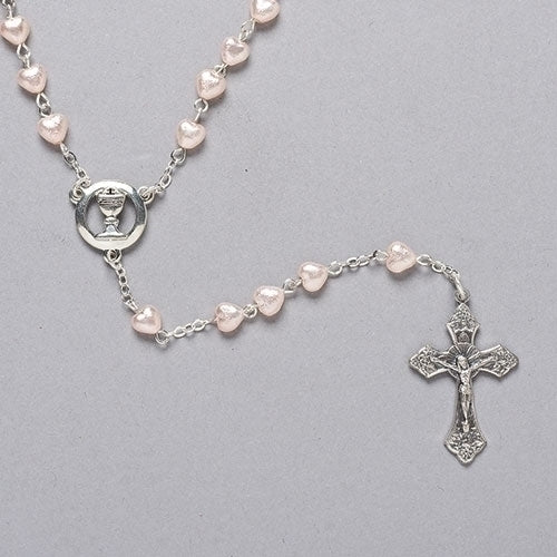 First Communion Rosary Pink Heart Bead with Chalice Center