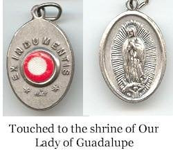 Our Lady of Guadalupe - 1 inch Medal Oxidized with Third Class Relic