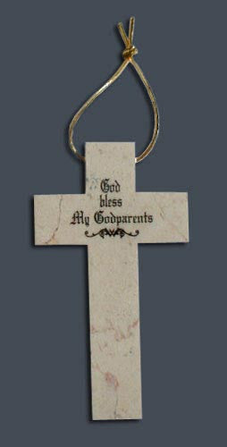 God bless my Godparents cross made from Jerusalem Stone by Holy Land Stone Company