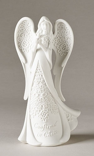 "White Lace Confirmation Angel 8.25""H"
