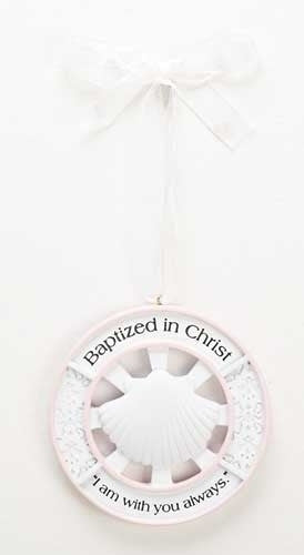 "3.75""H Pink Girl  Baptism Cradle Medal by Roman Inc."