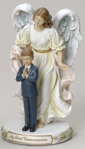 "First Communion Boy with Praying Angel Figure 7""H"