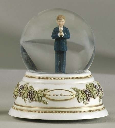 First Communion Praying Boy Musical Glitter Dome from Joseph's Studio